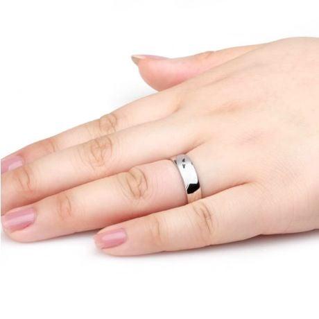 Alliance homme - Lignes fluides or blanc, diamant - Polie, brossée