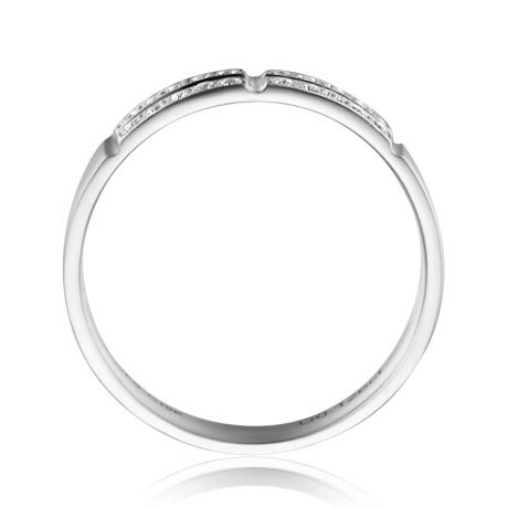 Alliance biseautée femme -  pavage Diamants Platine