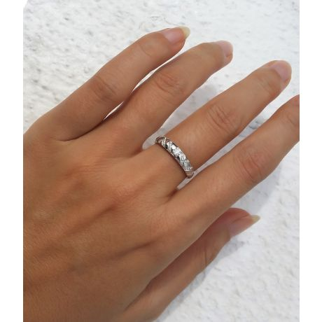 Duo d'alliances parsemée - Or blanc, diamants