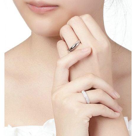 Alliance bombée Or blanc 18 carats Messieurs. 1 diamant 0.010ct   Blaine