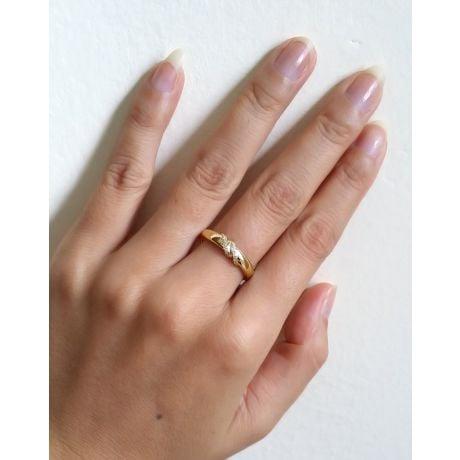 Coppia di Fedi Nuziali Héloïse & Abélard - Oro Giallo e Diamanti