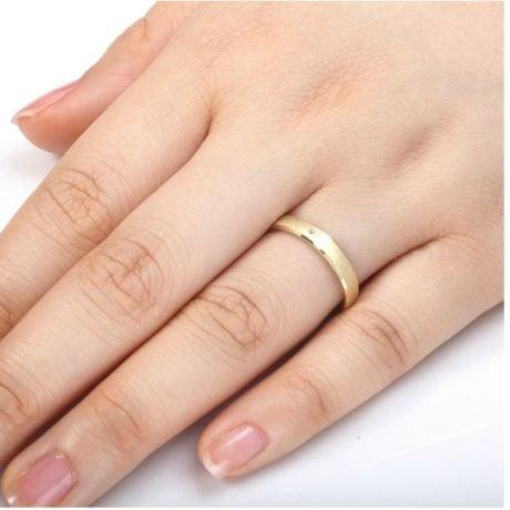 Fede nuziale donna. Oro giallo 18ct e diamanti | Bleuzenn