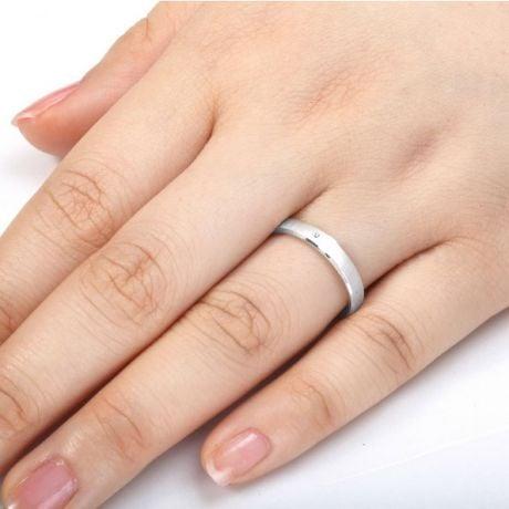 Fede nuziale donna. Oro bianco 18ct e diamanti | Bleuzenn