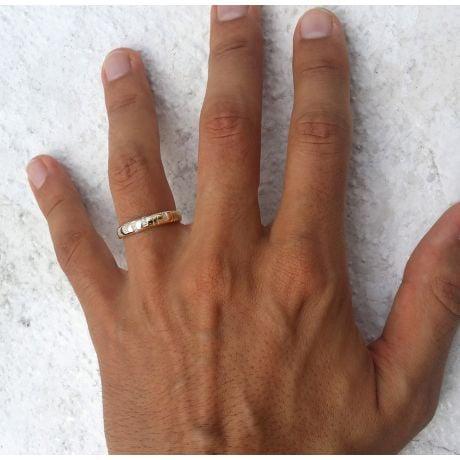 Fede Nuziale da Uomo Toi et Moi - Oro Giallo e Diamanti