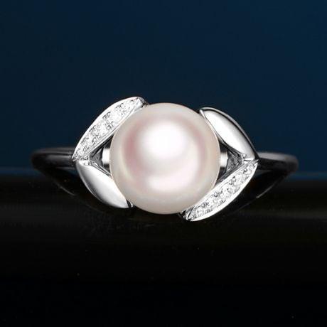 Anello Hanabira - Oro Bianco, Diamanti e Perla Akoya