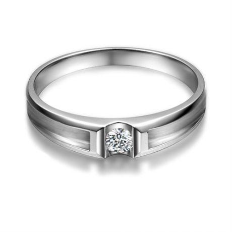 Fede matrimoniale Uomo. Platino & Diamante solitario | Scott