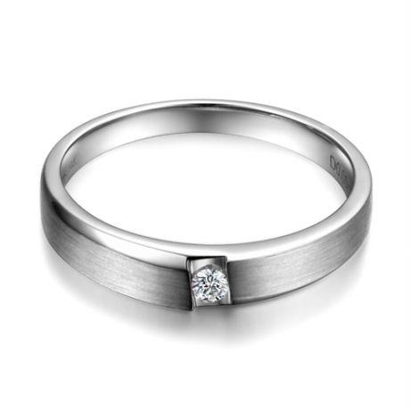 Fede Nuziale da Uomo Anselme - Platino e Diamante Solitario