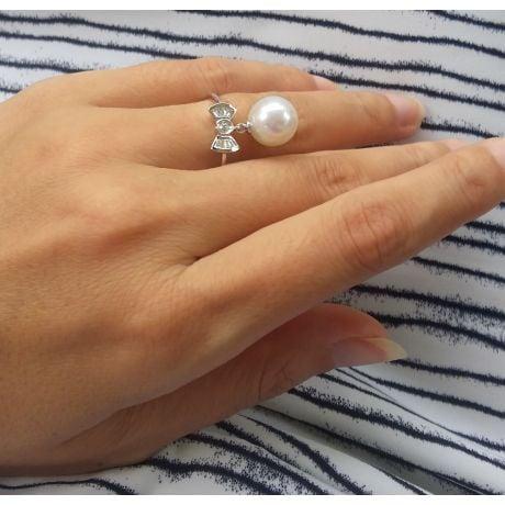Anello Noeud Papillon - Oro Bianco 18kt, Diamanti e Perla d'Acqua Dolce