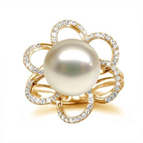 Bague fleur perlée blanche - Pétales or jaune - Perle culture Chine
