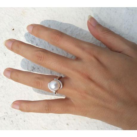 Bague voluptueuse or blanc et perle de culture blanche - Diamant pavé