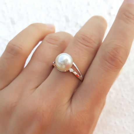 Anello Feuilles de Style - Oro Bianco 18kt e Perla d'Acqua Dolce