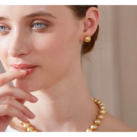 Boucles oreilles tiges clous - Perles Australie dorées - Or jaune