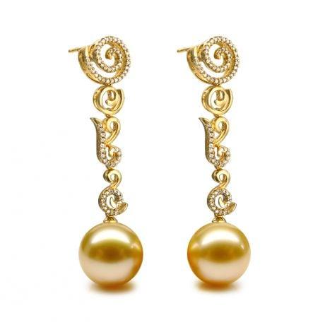 Boucles oreilles spirales volutes - Perles dorées - Or, diamants