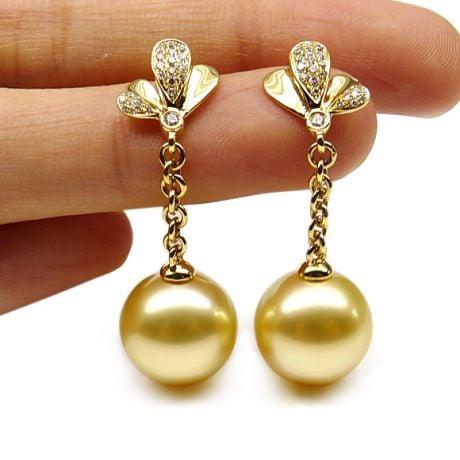 Orecchini pendenti - Oro giallo, perle d'Australia - Giardino dell'Eden