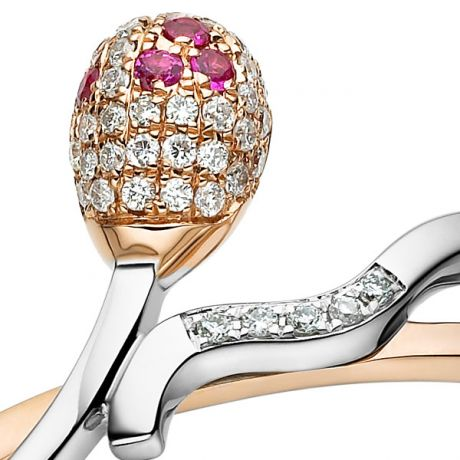 Anello Donna - Due ori 2.70gr - Diamanti, Rubini 0.07ct