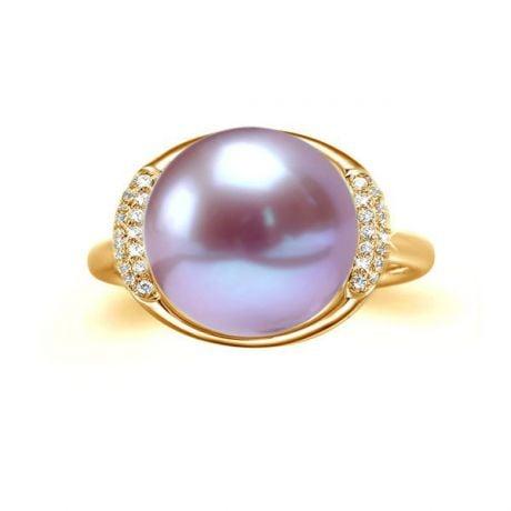 Bague perle eau douce lavandes, or - Plateau circulaire diamants