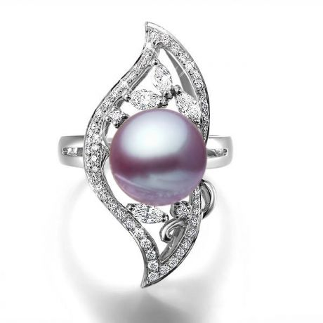 Bague végétale or blanc - Perle eau douce Lavande de culture, Diamants