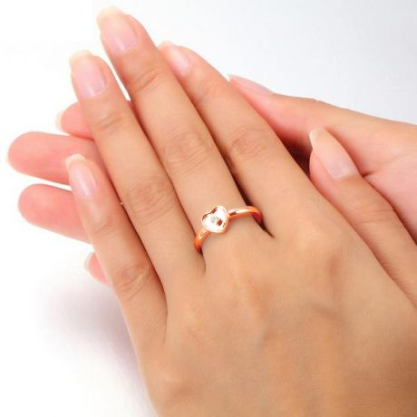 Bague Mon Coeur Pretty - Or Rose & Diamant Serti Clos | Gemperles