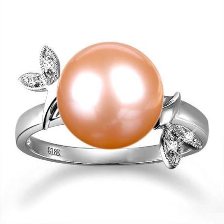 Anello Feuilles Étincelantes - Oro Bianco 18kt, Diamanti e Perla d'Acqua Dolce