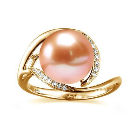 Bague femme perle - Or jaune, diamants - Perle de culture rose