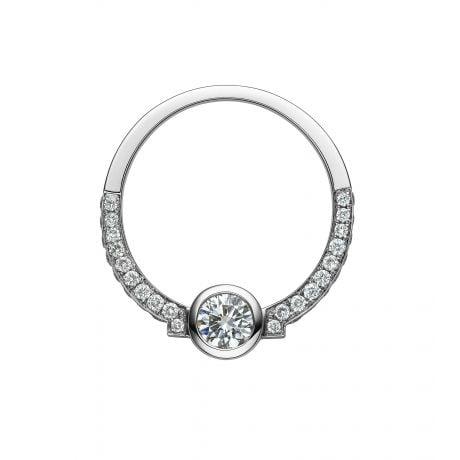 Solitaire Diamant Clos Le Méandre - Demi Tour en Diamants & Monture Or Blanc | Gemperles