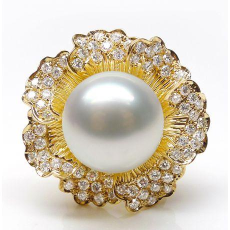 Anello Ajourées - Perla dei Mari del Sud Bianca e Oro Giallo