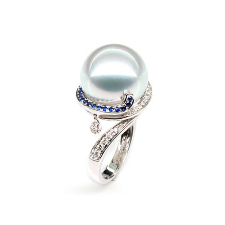 Anello Bruny - Perla dei Mari del Sud Bianca e Oro Bianco