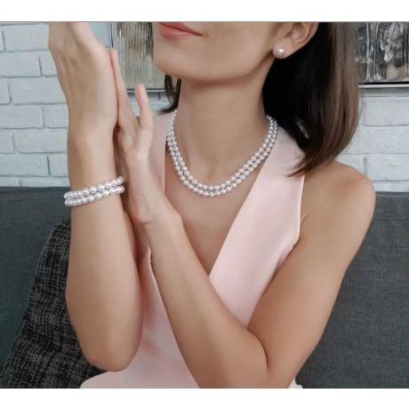 Braccialetto A Due Fili Amaya - Perle Bianche Akoya Giapponesi 6.5/7mm, AAA