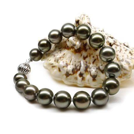 Bracelet perles Tahiti noires 9/10mm - Orient paon avec fermoir or