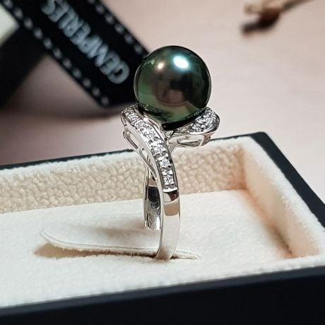 Anello Santa Luzia - Oro Bianco, Diamanti e Perla di Tahiti