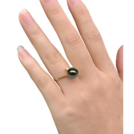 Bague Wood Cay. Perle de Tahiti noire. Or jaune, diamant
