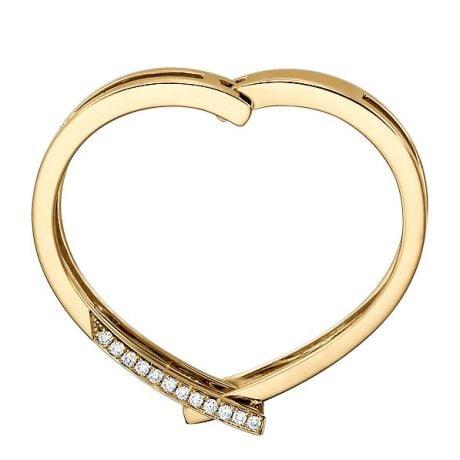 Bague anneau d'exception. Pendentif or jaune diamants forme cœur | Exception