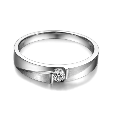 Alliances diamants sertissage demi clos - Métal or blanc 18cts - Duo