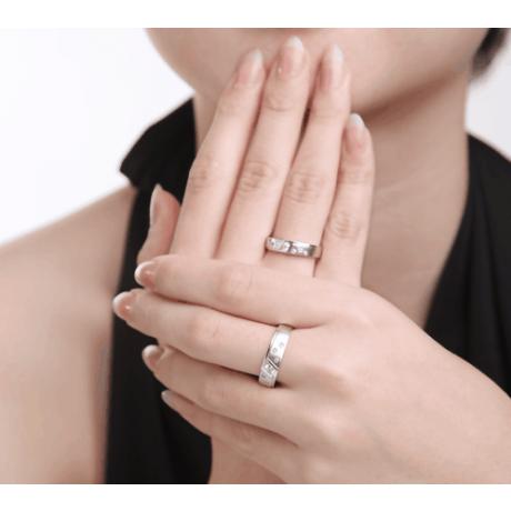 Fedi Nuziali Talia & Mirabeau - Oro Bianco, Diamanti