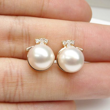 Boucles oreilles chapeau demoiselle - Or jaune, perles et diamants