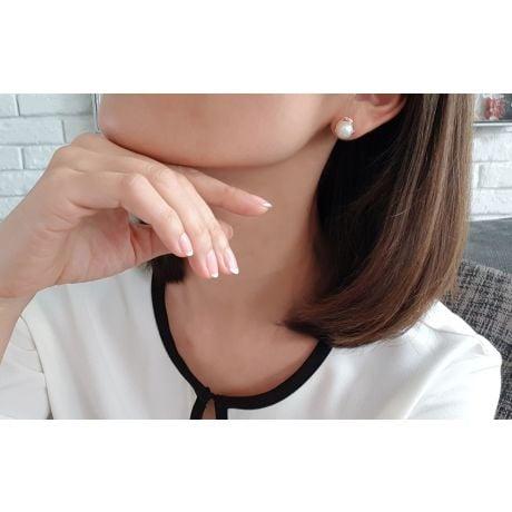 Boucles d'oreilles style classique - Perles de culture, or blanc