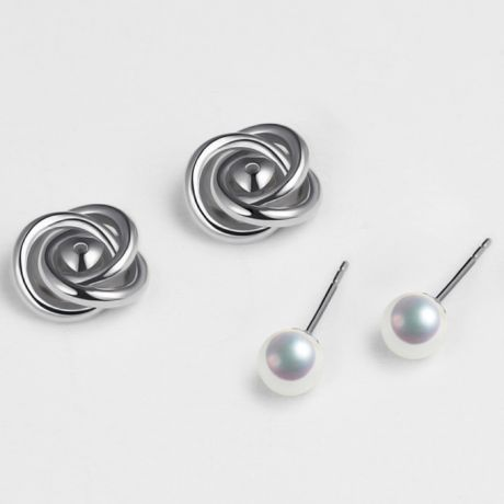 Boucles oreilles Chiyoko Or blanc. Perles Akoya Japon 6/6.5mm AAA