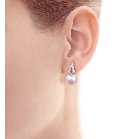 Orecchini Pendenti Michiko - Oro Bianco, Diamanti & Perle Akoya
