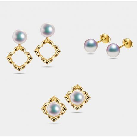 Boucles Oreilles Étoiles Filantes Perle Akoya Or Jaune