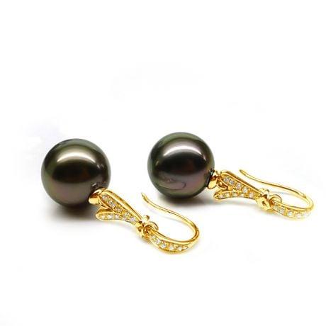 Orecchini Fiocco Ruban - Perle di Tahiti Nere, Oro Giallo