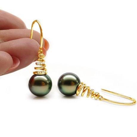Orecchini Gancio Danemark - Perle di Tahiti Nere, Oro Giallo