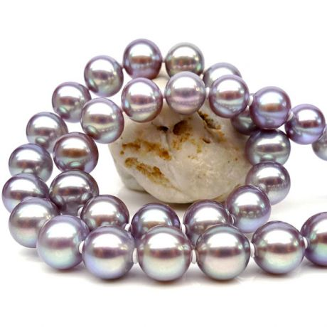 Collier perles culture - Collier perle d'eau douce lavande - 7/7.5mm