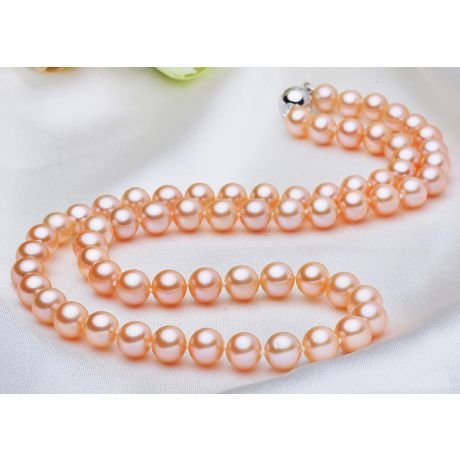 Collier perles roses - Perle de culture rose - Perle eau douce 7/7.5mm