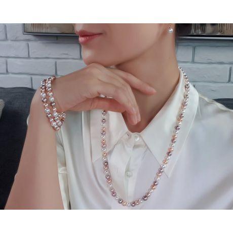 Parure 2 Fili Perle Miste Plurale - Collana e Braccialetto 6.5/7mm - Oro Giallo
