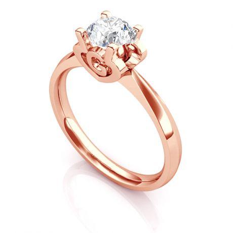 Anello Solitario Lettera Alfabeto G - Oro Rosa e Diamante | Gemperles