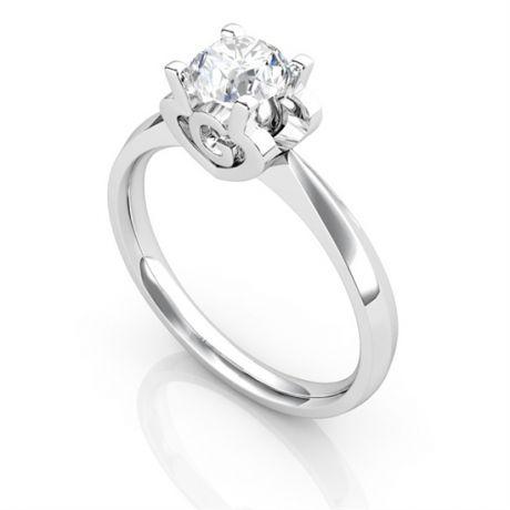 Anello Solitario Lettera Alfabeto G - Oro Bianco e Diamante | Gemperles