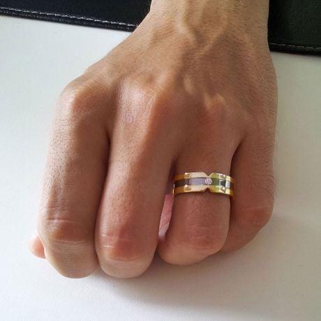 Anello Uomo in Oro giallo lucido / bianco spazzolato e diamante | Horace