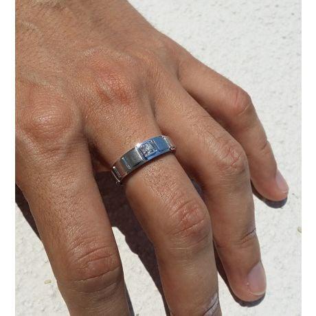 Anello per Uomo in Oro bianco 18k & Diamante brillante | Elbow