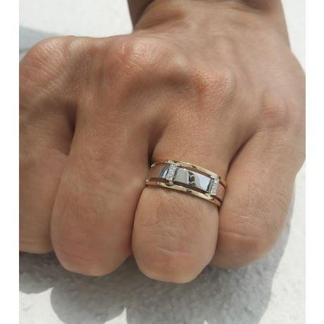 Anello Uomo - Oro bianco, giallo 6.50gr - Diamanti 0.050ct