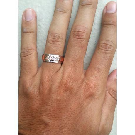 Anello Uomo. Metallo Oro bianco e rosa 18k. Diamanti 0.205ct | Diomede